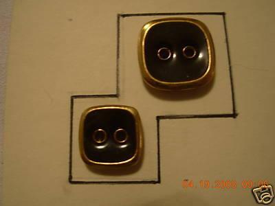 DESIGNER BUTTON 2H SQ SET GOLD/ GREEN EN 24/30 12 PC Bonanza
