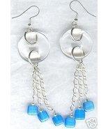 Clear Quartz Blue Fibre Optic Long Chain Earrings  - $18.99