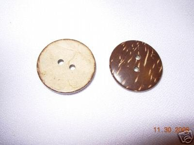 DESIGNER COAT BUTTON 2 HOLE COCOANUT SHELL 1