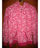 "Pink and White Artsy Hooded Sweatshirt/Jacket, 2X, Bust 53"" - $12.95"
