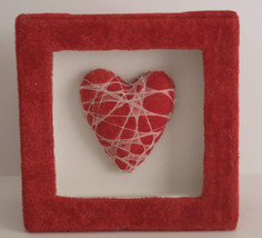 Red Square Dimensional Trinket Heart Box 5 1/4in x 5 1/4in - $3.97