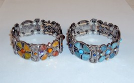 Fashion Stretch Link Bracelet ~ Plated Metal w/Rhinestone & Enamel #5430240 - $7.95