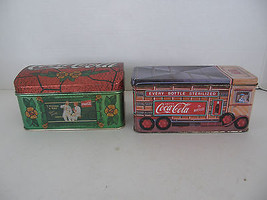 Set Of 2 Coca Cola  1993 & 1996 Collectible Tins Floral And Truck  Design  - $8.59