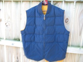 Mens Eddie Bauer XLT Reversible Goose Down Vest Navy blue and Mustard Gold - $50.00
