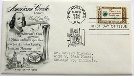 March 31, 1960 First Day of Issue, Fleetwood Cover, Benjamin Franklin Cr... - $0.99