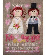 Two Hearts One Love cross stitch chart Barbara Ana Designs - $8.55
