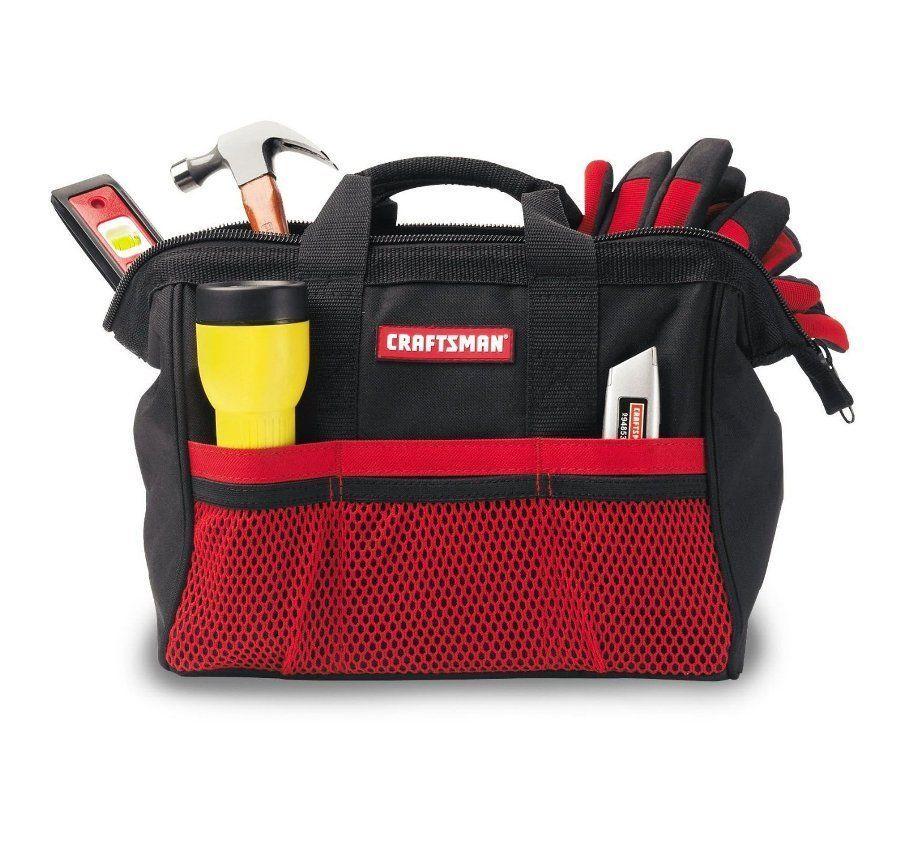 "Craftsman Reinforced Tool Bag HandTools Organizers 13"" Compact Case Pocket"