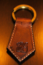 Leo Zodiac Leather Keychain - Handmade in USA - $16.83