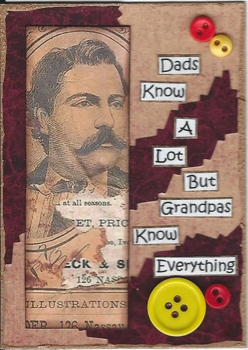 Primary image for ACEO Art Card Collage Fathers Day Men Dad Know A Lot Grandpas Know Everything