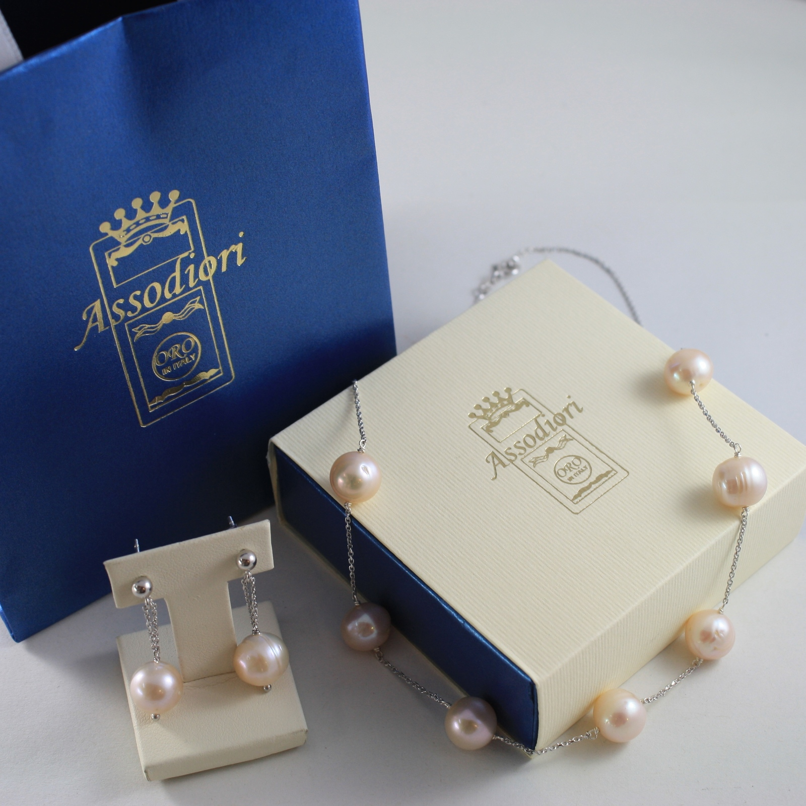 925 SILVER RHODIUM PARURE WITH NECKLACE AND EARRINGS, ROSE PINK PEARLS