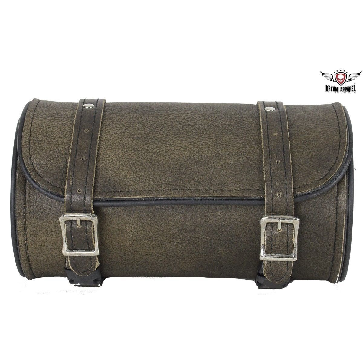 """Distressed Motorcycle Tool Bag Dark Brown Leather 10"""" Universal Front Back Fork image 2"""