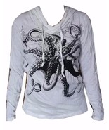 lady hoodie long sleeve 100% cotton animal Octopus Sea summer Retro Ocea... - $24.99