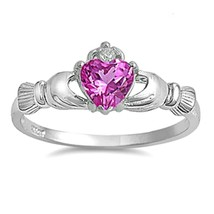 Sterling Silver Claddagh ring size 12 CZ Heart Crown Irish Rose Pink New 925 r95 - $10.88