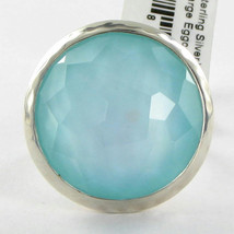 Ippolita Wonderland Ring Sz 7 Aqua Quartz Mother of Pearl Doublet 925 NE... - $572.29