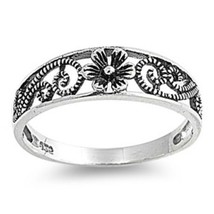 Sterling Silver ring size 5 Infinity Rose Kids Ladies Flower Celtic Toe New p05 - $9.69