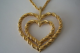 Double Heart Necklace. Rope Heart Necklace In Gold Tone. Romantic Jewelry. - $15.00