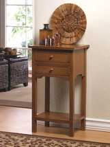 Natural Wood Side, Accent End Table Night Stand w/ 2 Drawers and Lower S... - $54.40