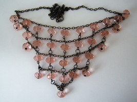 Pink Beaded Bib Necklace. - $13.00
