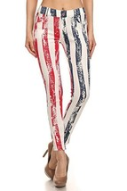 ICONOFLASH Women's USA American Flag Jeggings (Stripes, ML) [Apparel] - $28.70