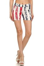 ICONOFLASH Women's USA American Flag Jegging Shorts (Stripes Shorts, ML) - $22.76