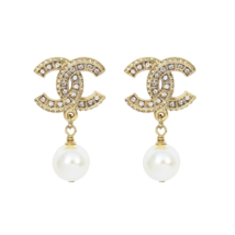 SALE* AUTHENTIC CHANEL XL CRYSTAL CC LOGO PEARL DANGLE DROP EARRINGS GOLD
