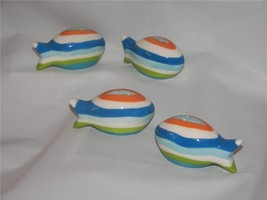 Clearly Fish striped ceramic Mini Salt & Pepper Shaker set 4 NIB - $9.00