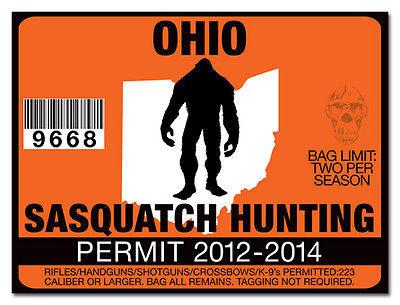 Sasquatch hunting permit license decal sticker polaris rzr for Ohio fishing license online