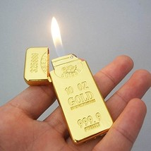 1 x Portable Luxury Gold Bar Design Shaped Butane Flame Gas Cigarette Lighter