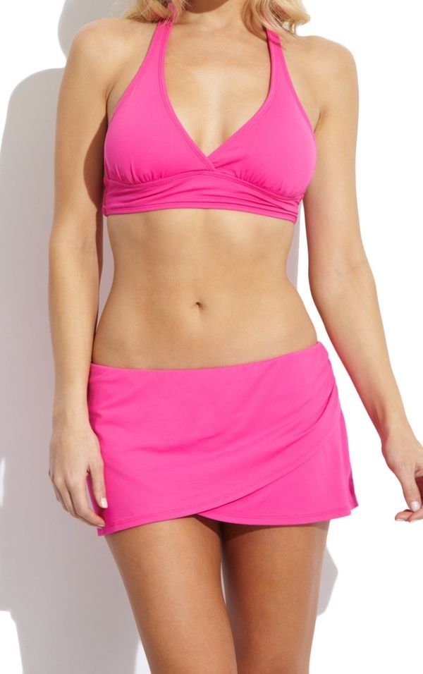ANNE COLE SIGNATURE Solid Draped Skirted Swim Bottom XS NWT - $33.96