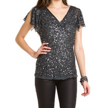 Adrianna Papell Smoke Silk Sequin V-Neck Blouse Small NWT - $69.00
