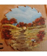 Fall Old Barn Mini Round Saw, Fridge Magnet, Collectible, Metal Art, Col... - $12.50