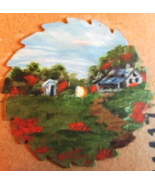 Summer Cabin Hand Painted Mini Sawblade, Oils, Fridge Magnet, Wall Decor... - $12.50