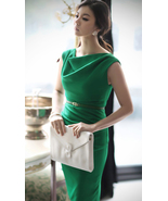 Classy Beauty. Emerald Green Cowl Neck Shift Dr... - $95.90