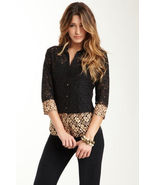 Velvet Ombre Lace Button Down Shirt Small NWT - $49.00