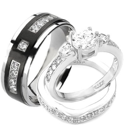3 PCS Sterling Silver Round Cubic Zirconia Titanium His Hers Wedding Ring Sets - $95.95