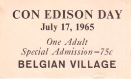 N. Y, World's Fair 1964 -65 Con Ed. Day BelgianVillage & Postcard-N.Y.S.... - $5.95
