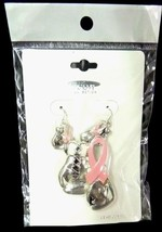 Breast Cancer Pin Slide Boxing Glove Matching Earring Pierced Awareness Set - $15.49