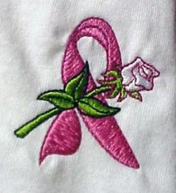 Breast Cancer Pink Ribbon Rose White S/S Crew Neck T-Shirt XL Unisex New - $21.53