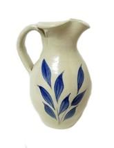 Hand Turned Pitcher Blue Flower USA Williamsbur... - $59.37