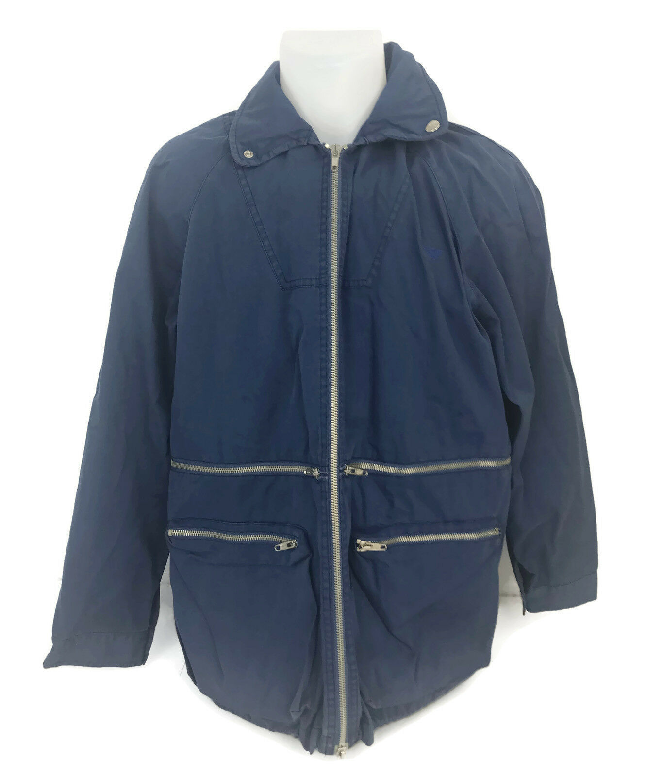 Primary image for Giorgio Armani Junior Boys Medium Blue Jacket Roll Down Hood Italy Size 14 Y 42