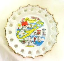 Vintage Bermuda Islands Beaches Sun Sailing Biking Lighthouse Ribbon Plate - $39.17