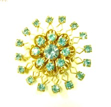 Vintage Blue Rhinestone Round Gold Plated Costume Fashion Pin Brooch - $39.57