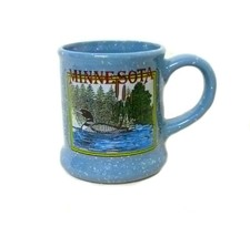 Vintage Common Loon Bird Water Cat tails Picture Blue Speckle Cup Mug So... - $19.57