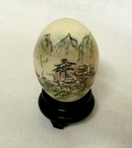 Vintage Hand Painted Hollow Egg with Stand Trees Pagodas Mountains China - $48.97