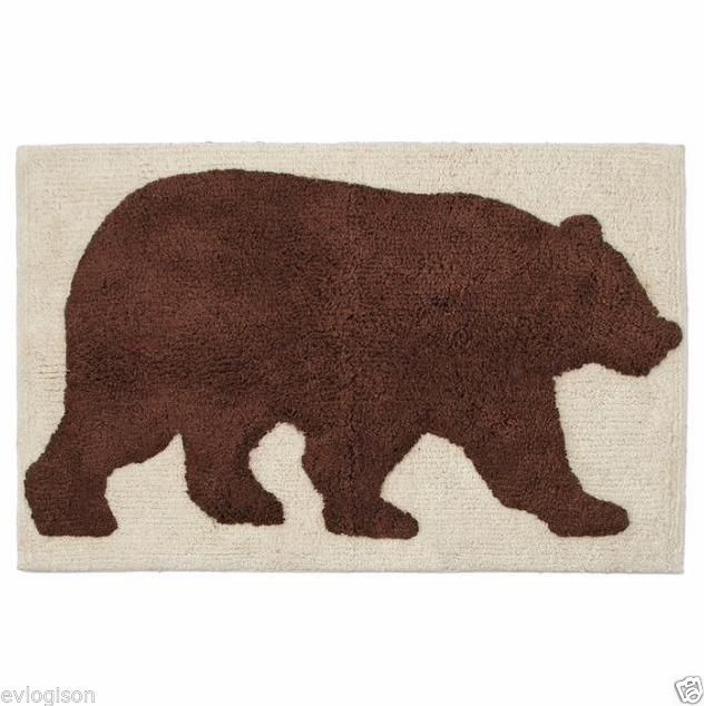 Natures Trail Moose Cabin Brown Bear Bathroom Non Slip Bath Rug Non Slip Appliques Mats