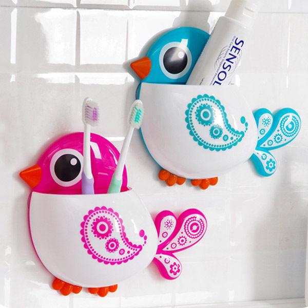 Cartoon Cute Bird Suction Cup Toothbrush toothpaste Holder Bath Organizer