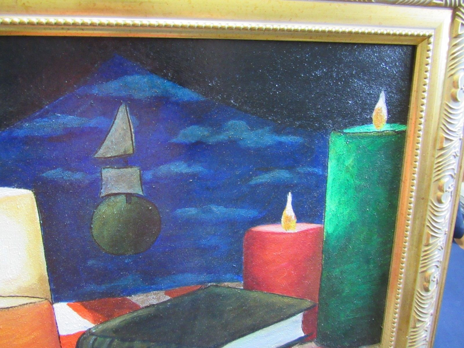 Signed Painting Original Art Still Life Candles Books Pipe Vibrant 25 x 22