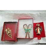 """Christmas Candy Cane Angel Lamp post  Lot of 3  2""""-2.25""""  Brooch Pins  G... - $14.84"""