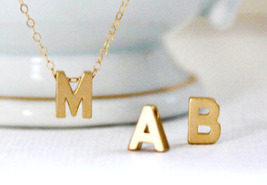 SALE Gold Letter Necklace Small Gold Initial Necklace Personalized Lette... - $25.00