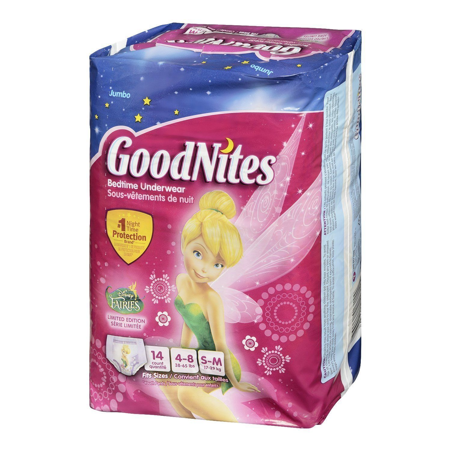 Potty Training Disposable Underwear Protection Night Time S/M 14 CT Girls